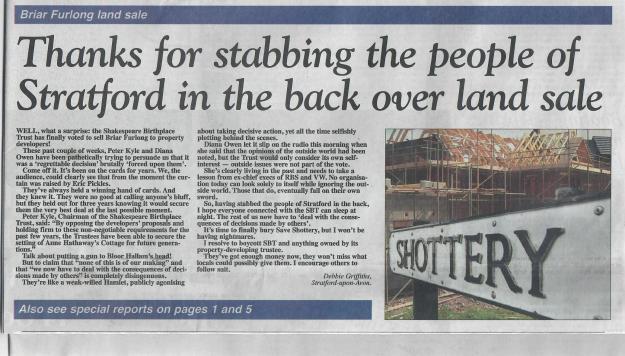 151008 Stratford Herald letter